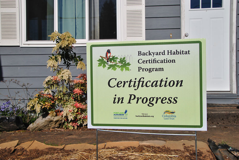 Backyard Habitat Certification Sign in Front yard