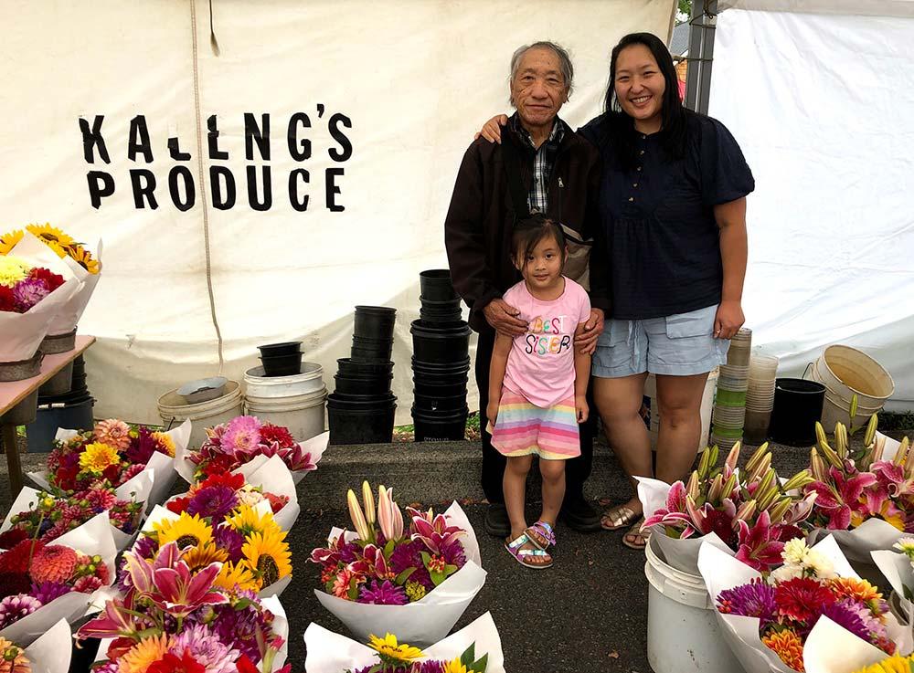 Family at farmers market.