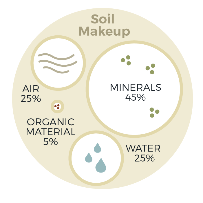 Soil Make Up is 45% Mineral, 25% Air, 25% Water, 5% Organic material