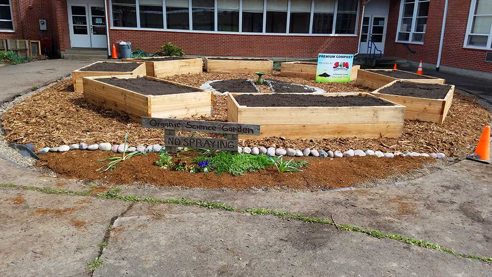 West Union School Garden with sign reading