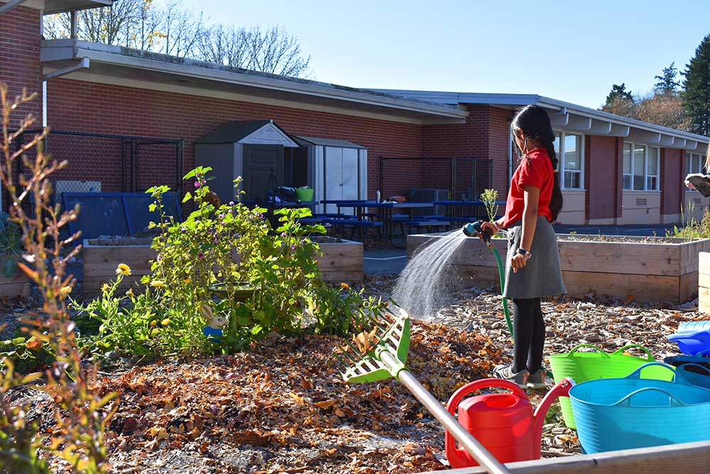 School aged girl waters the garden at West union school