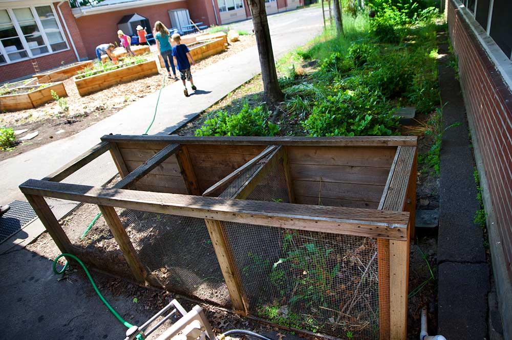 Mulch bin at West Union School