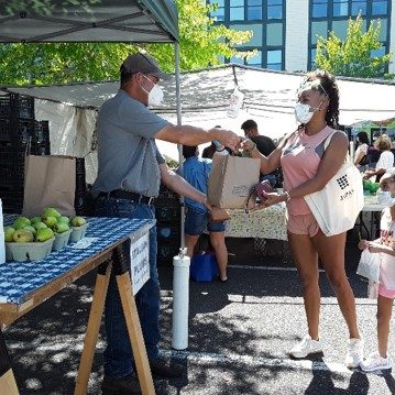 Shoppers and vendors stay safe at markets with masks and social distancing. Photo credit: Hillsboro Farmers Market.